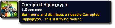 Corrupted Hippogryph WoW Mount Tooltip