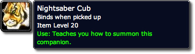 Nightsaber Cub WoW Loot Tooltip