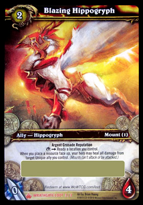 Blazing Hippogryph WoW TCG Loot Card