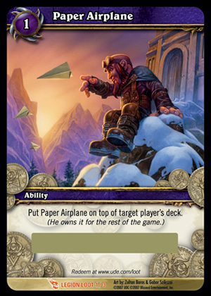 Paper Airplane WoW TCG Loot Card