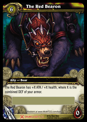 The Red Bearon WoW TCG Loot Card