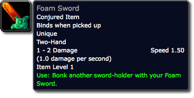 Foam Sword Tooltip