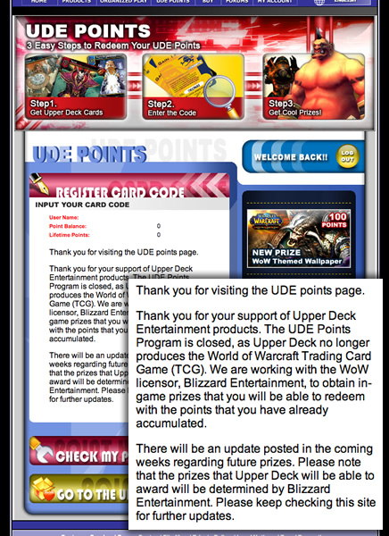 UDE Points and WoW TCG