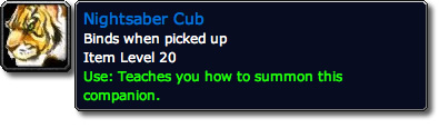 Nightsaber Cub WoW Pet Tooltip