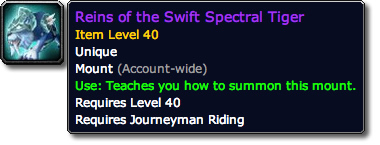 Reins of the Swift Spectral Tiger Tooltip