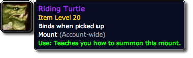Riding Turtle WoW Tooltip
