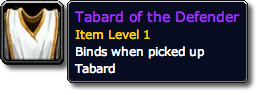 WoW Tabard of the Defender Tooltip