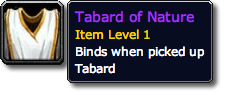 WoW TCG Tabard of Nature Tooltip