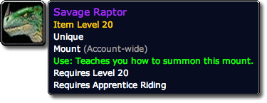 Savage Raptor Tooltip