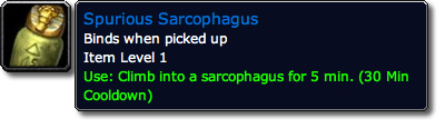 Spurious Sarcophagus WoW TCG Loot Tooltiip